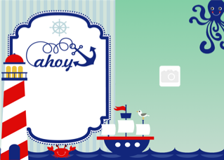 'boy','ship','ocean','sail','photoframe','birthday','party','invitation'
