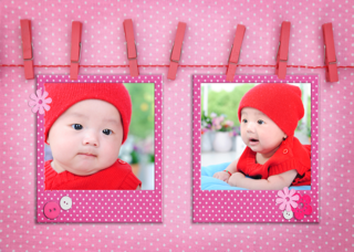 'girl','baby','twin','photoframe'