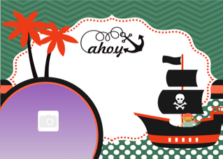 'pirate','boy','ship','ocean','sail','photoframe','birthday','party','invitation'