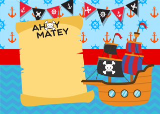 'pirate','boy','ship','ocean','sail','birthday','party','invitation'